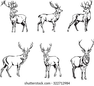 deer, deer figure, vector, illustration, black and white, silhouette