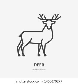 Deer flat line icon. Vector thin sign of reindeer, wild animal. Outline illustration for zoo.
