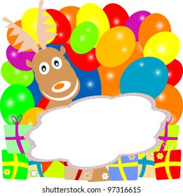 Deer in flowers, balloons and gift boxes. Valentines Greeting card
