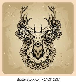 Deer with flowers and circle mandala