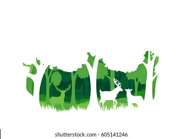 Deer in the forest background. Natural concept. Wildlife. Paper art style. Horizontal Vector illustration.