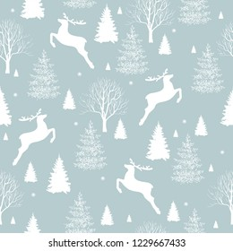 A deer is in the forest. Christmas seamless pattern background, vector illustration