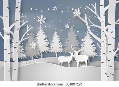 Deer in forest with snow in christmas and winter season,paper art and  digital craft style.