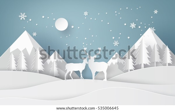 Deer in forest with snow and mountain. paper art and digital craft style.