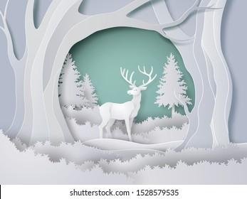 冬は雪を伴う森の鹿、クリスマス。ベクター画像紙アートスタイル。