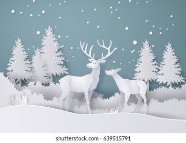 Deer in forest with snow in the winter season. paper art and  digital craft style.