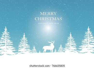 Deer in forest with snow in the winter season and christmas - art style.