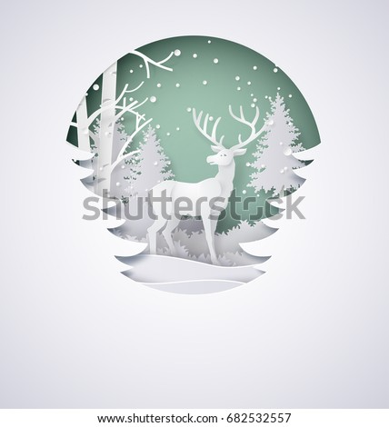 Deer in forest with snow in the winter season and christmas.vector paper art  and digital craft style.