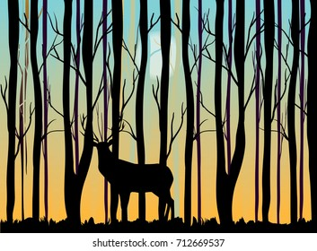 Deer in the forest vector illustration morning sky and sun, trees and deer silhouettes
