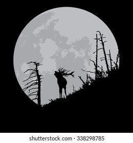 Deer full moon silhouette isolated on black, hand drawn, vector illustration