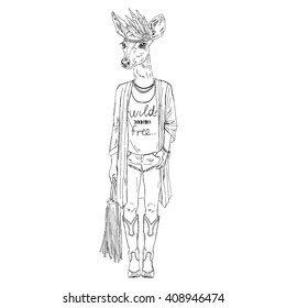Deer girl dressed up in bohemian chic style. Furry art illustration. Fashion animals. Hipster animals. Dressed up animals.