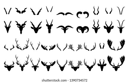 Deer Goat Caribou Horned Head and Horns Taxidermy Silhouette Set