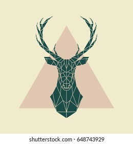 Deer green geometric sign . Vector illustration.
