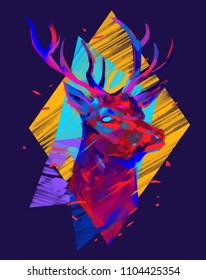Deer Head. Abstract colorful vector illustration with large strokes of paint and  geometric elements. T-shirt design.