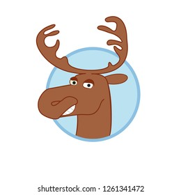 Deer Head cartoon. Deer Smyle. Vector illustration  of Caricature Deer
