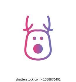 Deer head - Christmas deer flat icon