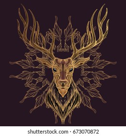 Deer head with decorative ornament of leaves. Hand drawn, sketch style. Vector illustration on dark purple background.