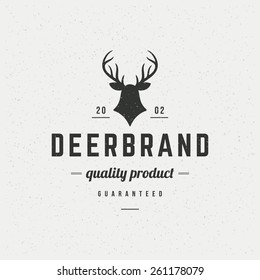 Deer head Design Element in Vintage Style for Logotype, Label, Badge, T-shirts and other design. Hunting club Retro vector illustration.