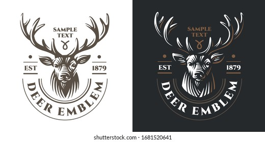 Deer head Design in Vintage Style for white and dark background