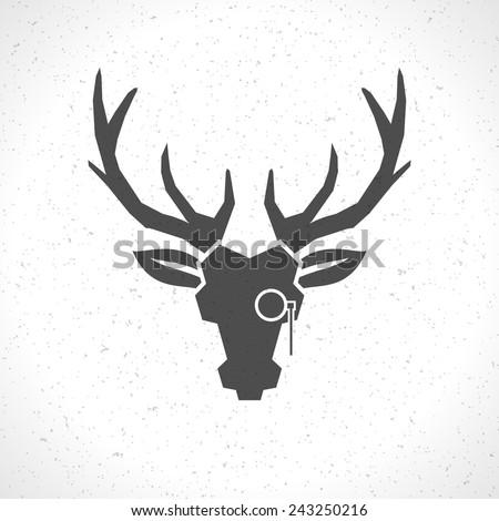 Deer Head And Horns Face Logo Emblem Template For Business Or T Shirt Design
