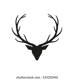 Deer head with horns - for holiday christmas greeting card or poster, banner, sticker. Hand drawn vector illustration for new year season.