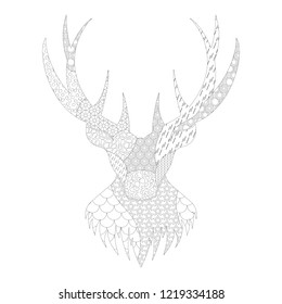 Deer head with horns.Black and white zentangle silhouette with pattern for  coloring
