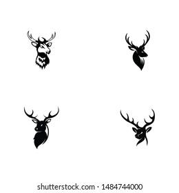 Deer head icon silhouette logo design minimalist template