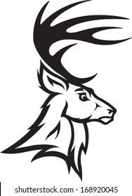 Deer Head Illustrated Deer Bust Profile. Black and White. Vector file.