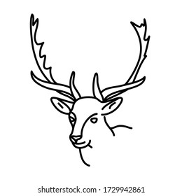 Deer Head Illustration. Outline style. Vector Illustration. Animal Icon. Good for Cricut