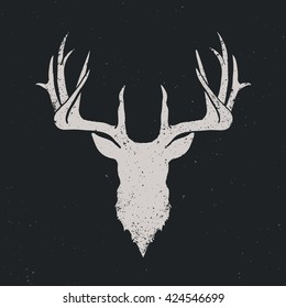 Deer head invert silhouette, hand drawn vintage illustration