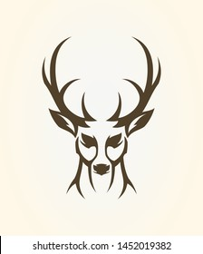 Deer head outline silhouette. Stylized elk icon.