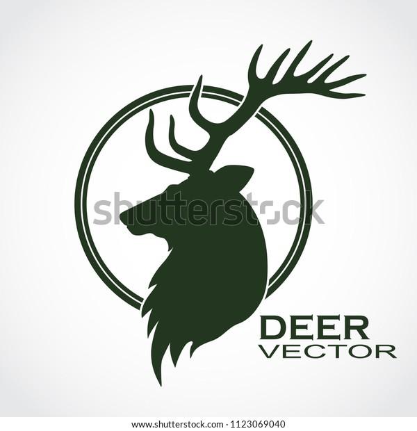 Deer Head Profile Silhouette Logo Stock Vector (Royalty Free) 1123069040