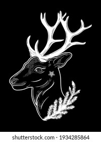 Deer head silhouette with coniferous branch. Dreamy magic art. Night, nature, wicca symbol. Isolated vector illustration. Great outdoors, tattoo design.