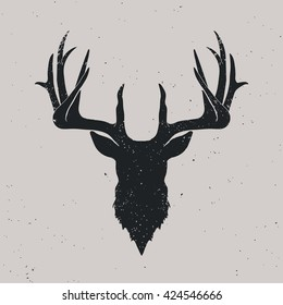 Deer head silhouette, hand drawn vintage illustration