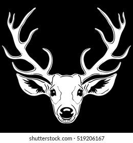 Deer head, silhouette isolated on black, vector