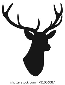 Deer head silhouette isolated on white background. Vector illustration.