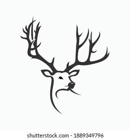 deer head silhouette deer logo deer vector illustration template