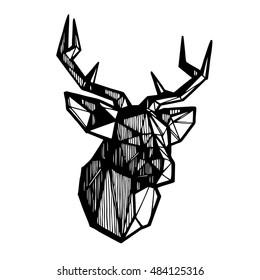 Deer head sketch. Polygonal geometric deer head. Vector illustration.