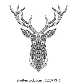 Deer head stylized in zentangle style. Tribal tattoo design. Vector illustration.