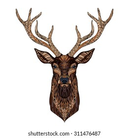 Deer head stylized in zentangle style. Tribal tattoo design. Vector illustration.