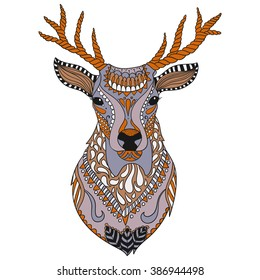Deer head tattoo. Ornate isolated vector illustration. Hand drawn animal drawing.