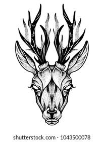 Deer head tattoo. Psychedelic vector illustration.