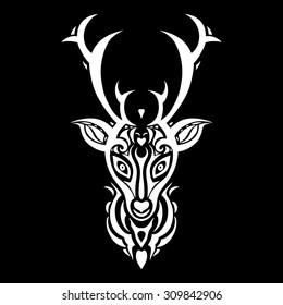 Deer head. Tribal pattern. Polynesian tattoo style. Vector illustration.