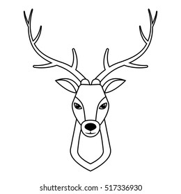 deer head, vintage hand drawn, Vector Illustration