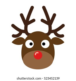 Deer head.Reindeer head isolated on white background, vector illustration.Christmas Design