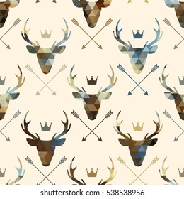 Deer heads seamless pattern. Abstract geometric background