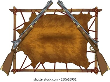deer hide on frame with muskets