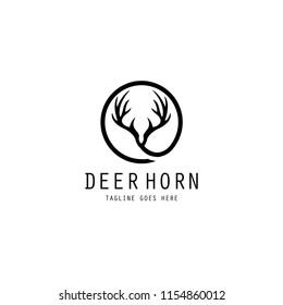 Deer horn logo, Vector antler icon on white background,