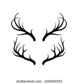 Deer horn vector icon set, horn or antler symbol - Vector