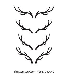 deer horn vector silhouette illustration set